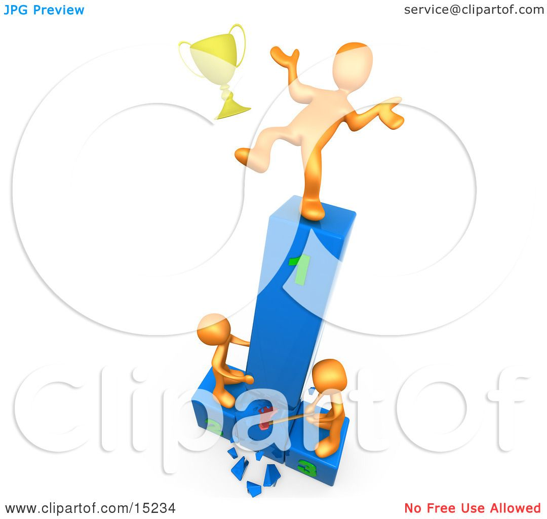 hight resolution of successful athlete slipping and dropping his golden trophy cup while the two runners up try to hack down the first place podium in revenge clipart