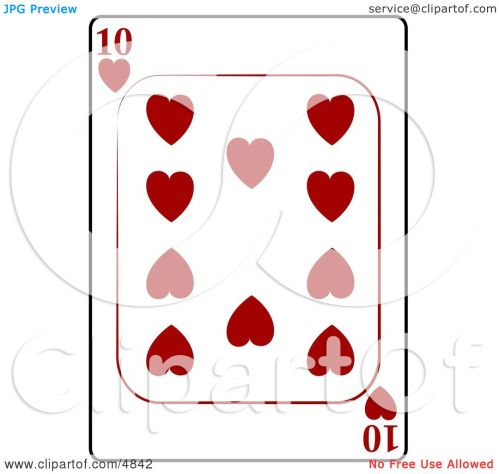 small resolution of ten 10 of hearts playing card clipart by djart