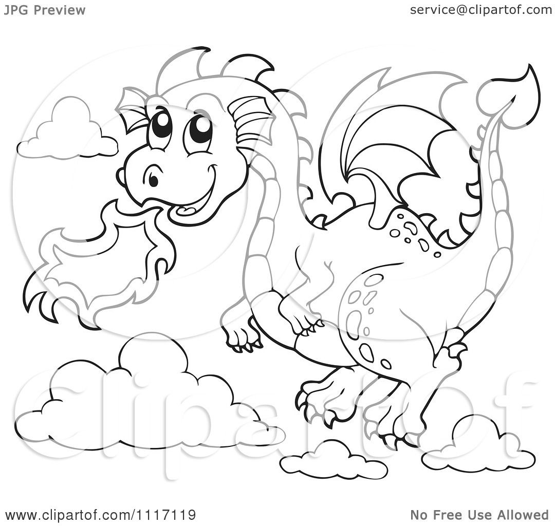 Vector Cartoon Of An Outlined Flying Fire Breathing Dragon