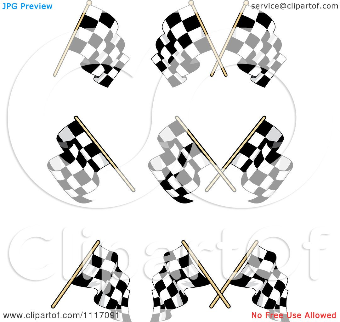 Vector Clipart Crossed Checkered Racing Flags 2