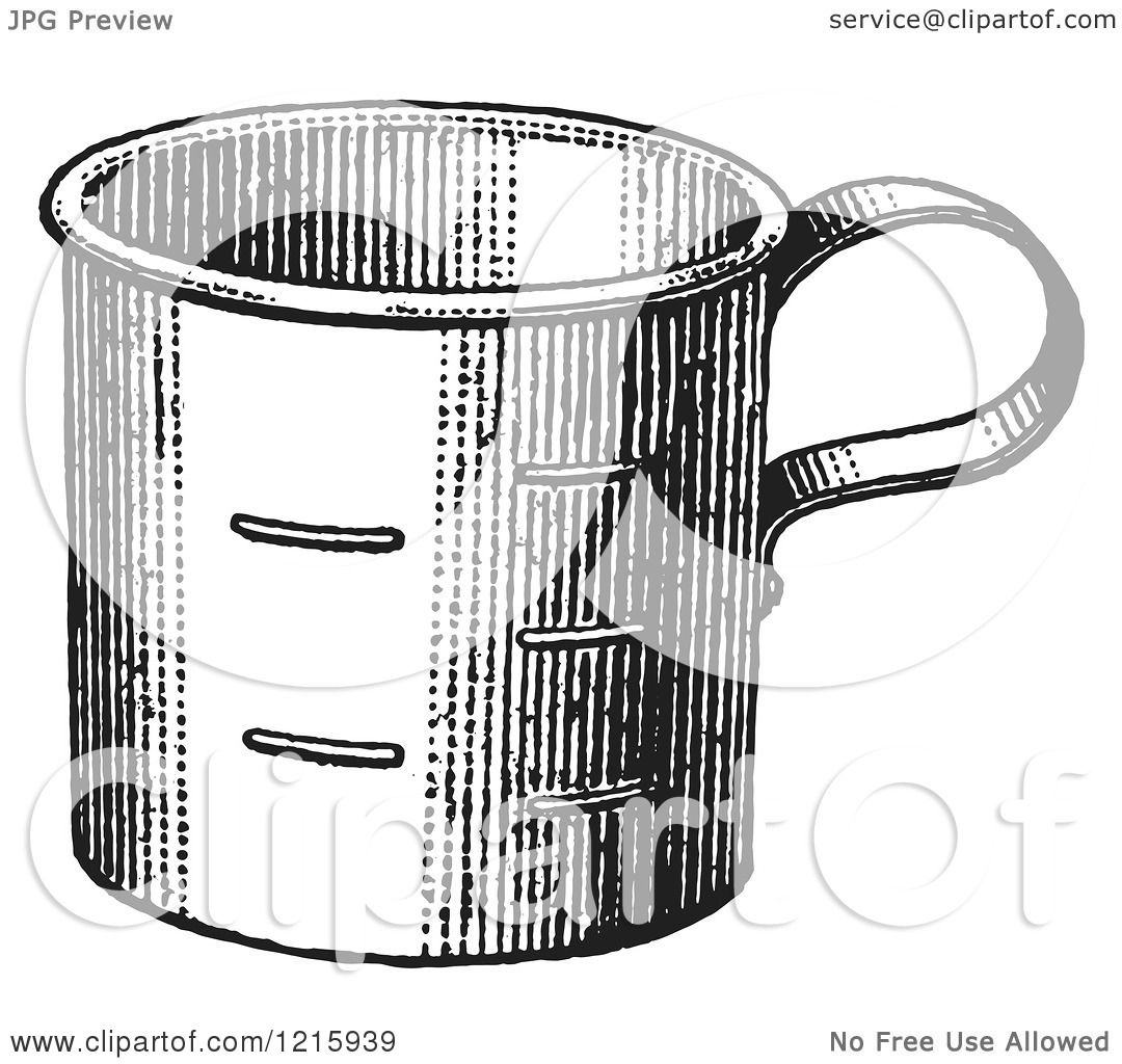 Vintage Clipart of a Retro Metal Measuring Cup in Black