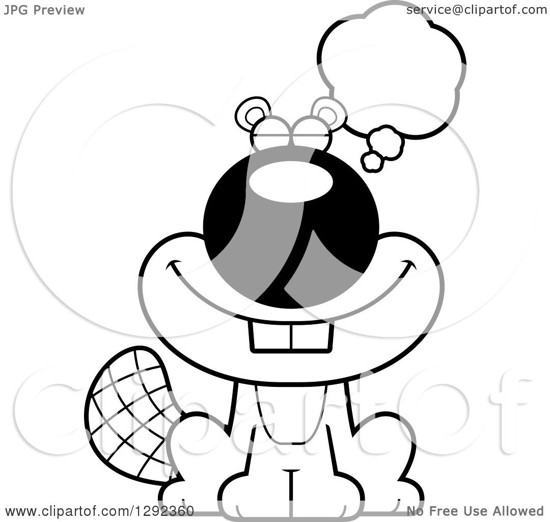 Wild Animal Clipart Of A Black And White Happy Dreaming Or