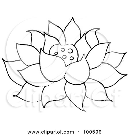 Royalty-Free (RF) Clipart Illustration of a Lotus Vine