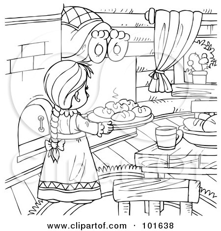 Coloring Page Outline Of A Girl Baking In A Bear's Kitchen