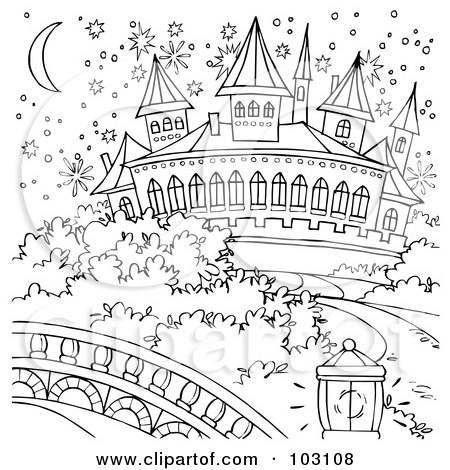 Coloring Page Outline Of A Magical Cinderella Castle