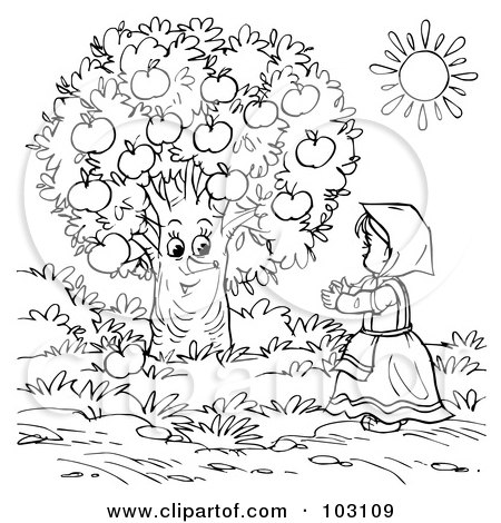 Coloring Page Outline Of A Girl Talking To An Apple Tree