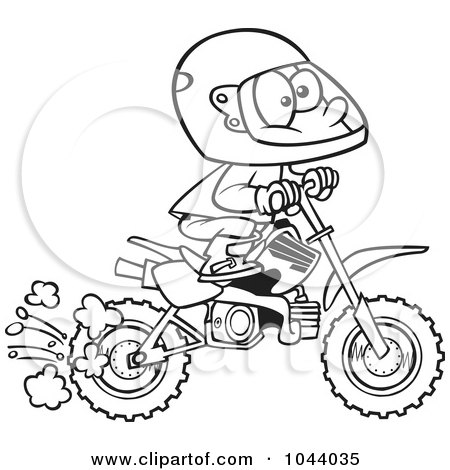 Clipart Of A Girl Riding A Dirt Bike In Pink Safety Gear