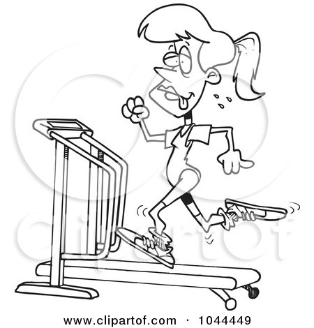 Cartoon Black And White Outline Design Of A Sweaty Woman