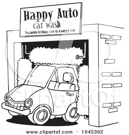 Man Washing A Red Car Under A Sign Posters, Art Prints by