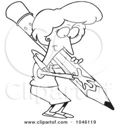 cartoon writing pencil clip outline scribe royalty clipart illustration rf businesswoman toonaday