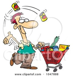shopping grocery cartoon guy clip clipart cart shopper friday royalty shops woman frazzled illustration toonaday stoneygate rf vector clipartof