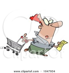 shopping clipart cartoon grocery frazzled guy clip royalty shopper woman friday illustration leishman ron rf toonaday posters prints poster illustrations