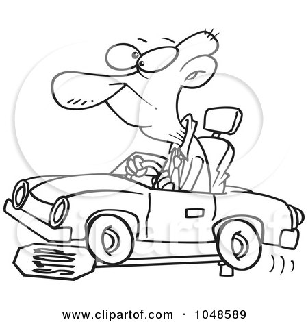 Cartoon Clipart of a Black and White Happy Senior Man
