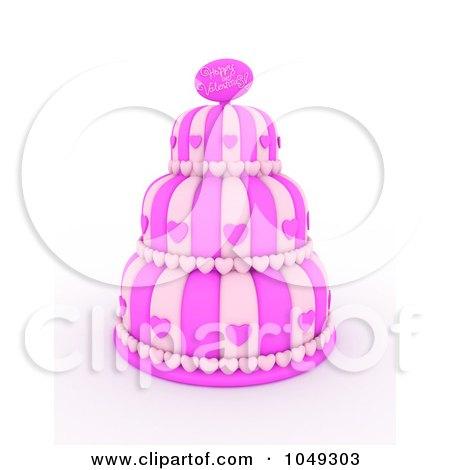 RoyaltyFree RF Clip Art Illustration of a 3d Pink Three