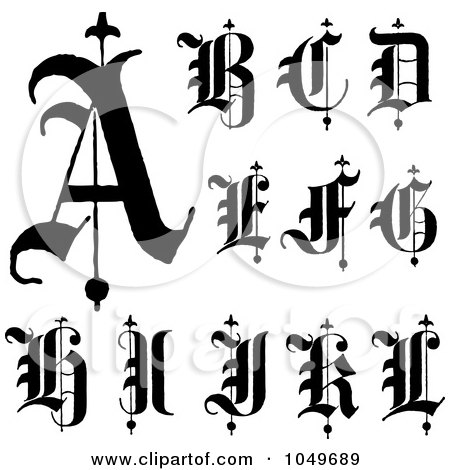 Digital Collage Of Black And White Old English Abc Letters
