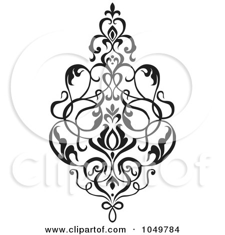 clipart of blue victorian floral