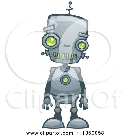 Clipart Waving Blue Eyed Robot Royalty Free Vector