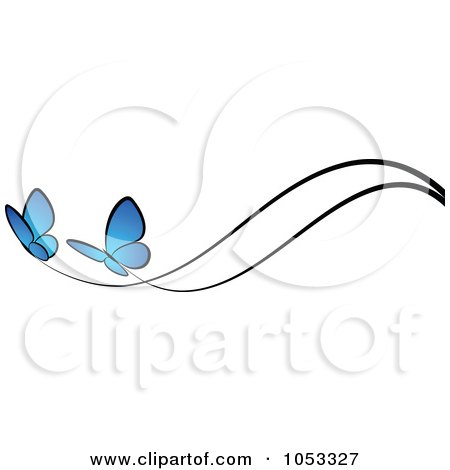 Royalty-Free Vector Clip Art Illustration of a Border Of Two Blue Butterflies And Black Lines by elena