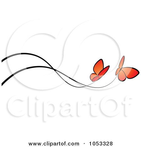 Royalty-Free Vector Clip Art Illustration of a Border Of Two Orange Butterflies And Black Lines by elena