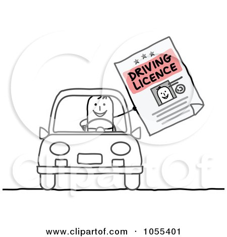 Clipart of a Sketched Drunk Stick Man Crashing a Car into