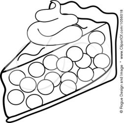 Royalty Free Vector Clip Art Illustration of an Outline Of A Slice Of Cherry Pie Topped With A Dollop Of Whipped Cream by Pams Clipart #1056018
