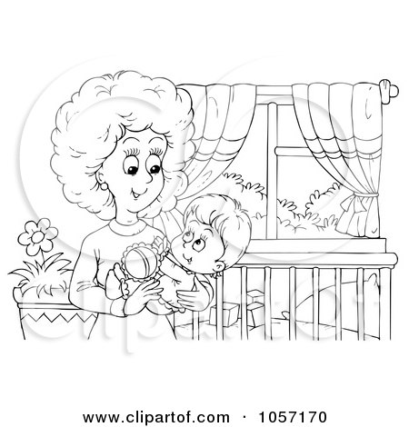 Coloring Page Outline Of A Mom Holding Her Baby In A