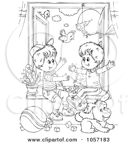 Royalty-Free (RF) Clipart of Brothers, Illustrations