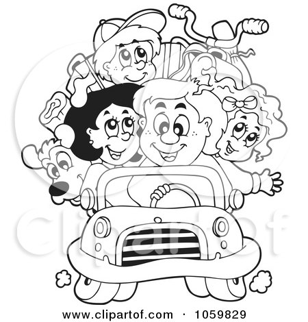 Coloring Page Outline Of A Family On A Road Trip Posters