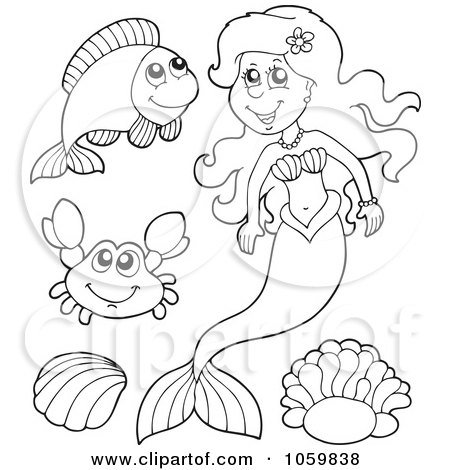 Digital Collage Of Coloring Page Outlines Of A Mermaid And