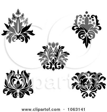 Clipart Black And White Flourishes Digital Collage 9