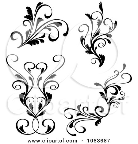 Clipart Black And White Flourishes Digital Collage 1