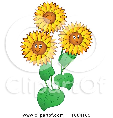 clipart happy sunflower - royalty