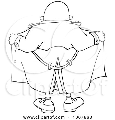 Black And White Cartoon Of An Outlined Flasher Man Holding