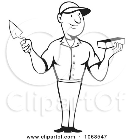 Clipart Illustration of a Blue And Black Handled Trowel