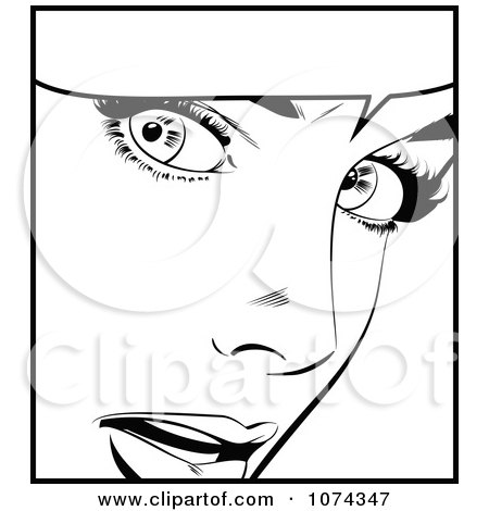 Clipart Black And White Surprised Retro Pop Art Woman And