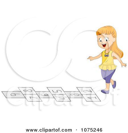 Clipart Happy Children Playing Hopscotch Royalty Free