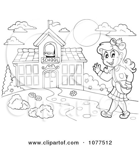 Clipart Outlined Happy Female Student Walking To School
