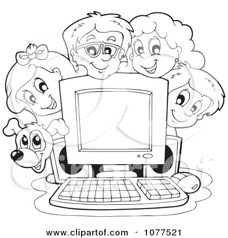 Clipart Outlined Dog And School Children Around A Computer