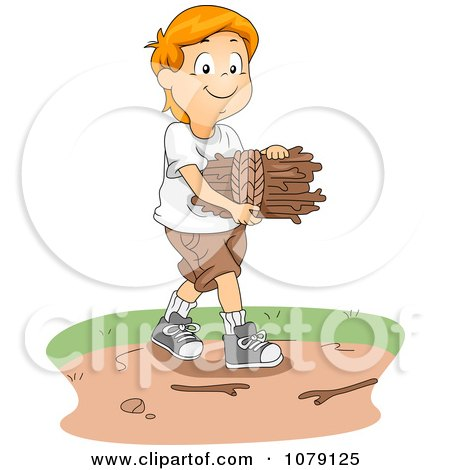 Clipart of a Hand Chopping a Log Outside a Cabin on an