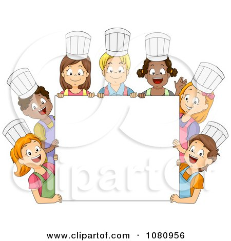 Diverse Kids Wearing Chef Hats Around A Blank Sign Posters
