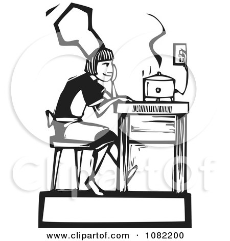 Clipart Black And White Woodcut Styled Baker Girl Serving