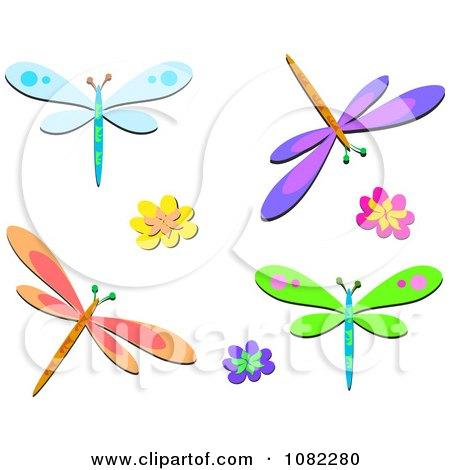 clipart colorful dragonflies