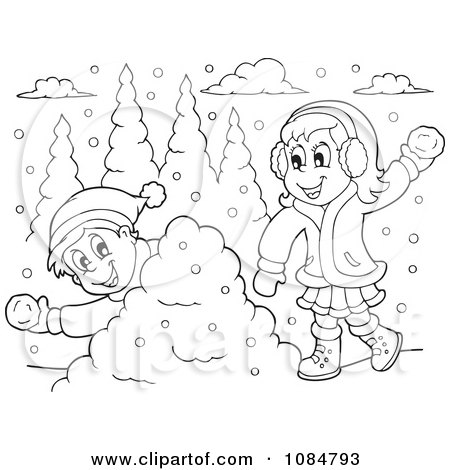 Vector Of A Cartoon Outnumbered Boy Running From Snowballs