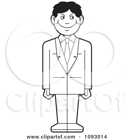 Clipart of a Silhouetted Businessman Leaning Against a