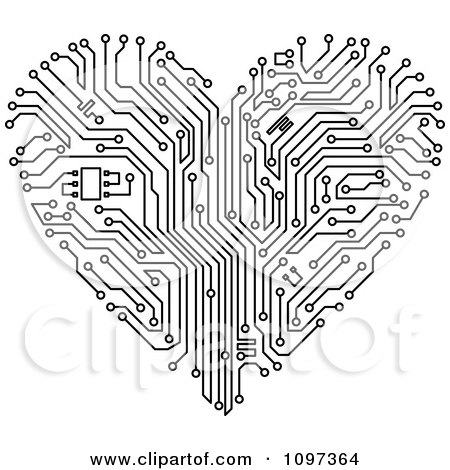 Black And White Circuit Board Heart Posters, Art Prints by