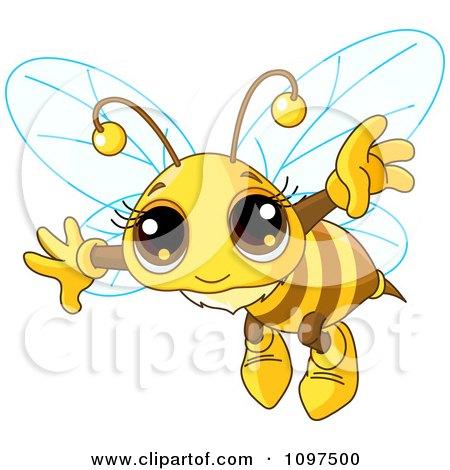 Cartoon of a Cute Queen Bee Sleeping on a Pillow  Royalty