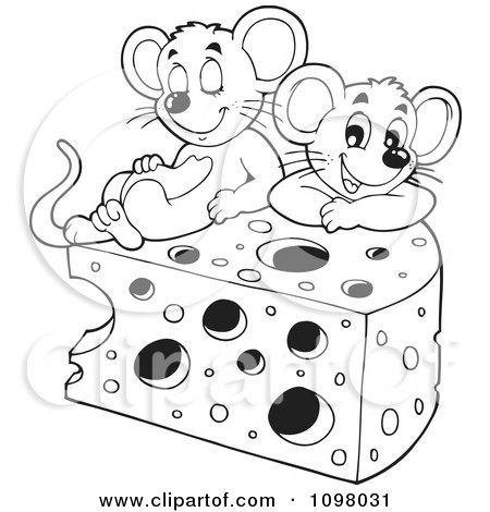 Clipart Black And White Cute Mice Playing In Cheese