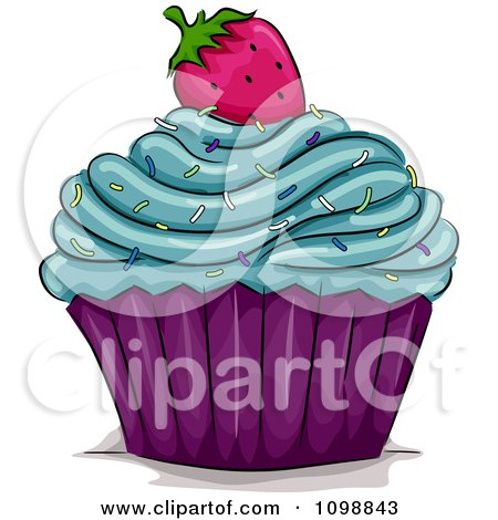 clipart cupcake topped with blue