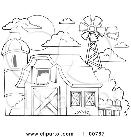 Clipart Outlined Barn With Hay In The Loft A Silo And