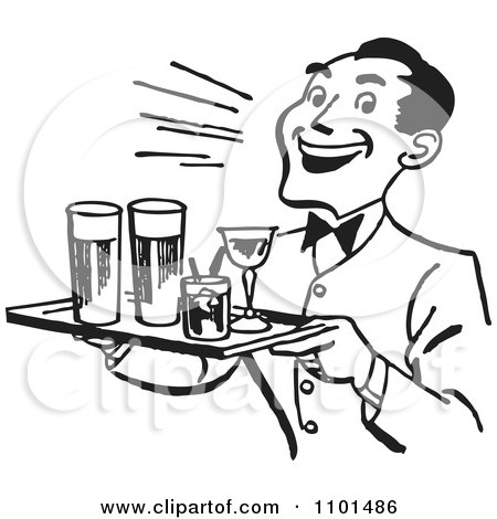 Royalty-Free (RF) Waiter Clipart, Illustrations, Vector